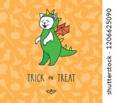 trick or treat. illustration of ... | Shutterstock .eps vector #1206625090
