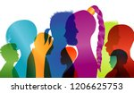 silhouette profiles of... | Shutterstock .eps vector #1206625753