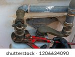 worker with a caliper... | Shutterstock . vector #1206634090