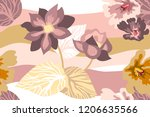 beautiful floral print with... | Shutterstock .eps vector #1206635566