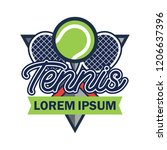 tennis court logo with text... | Shutterstock .eps vector #1206637396