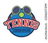 tennis court logo with text... | Shutterstock .eps vector #1206637399
