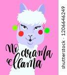no drama llama hand lettering...   Shutterstock .eps vector #1206646249