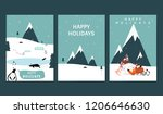 set of winter themed greeting...