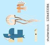 alphabet design of marine...   Shutterstock .eps vector #1206653386