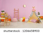 modern nursery room interior... | Shutterstock . vector #1206658903
