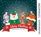 christmas card with cute... | Shutterstock .eps vector #1206660280
