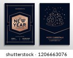 set of geometric christmas... | Shutterstock .eps vector #1206663076