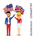 usa and uk flag waving people | Shutterstock .eps vector #1206669769