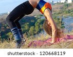 supple athletic woman bending... | Shutterstock . vector #120668119