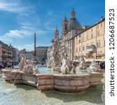 piazza navona in rome  italy at ... | Shutterstock . vector #1206687523