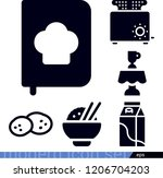 set of 6 food filled icons such ... | Shutterstock .eps vector #1206704203