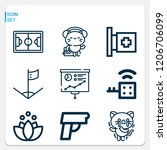 simple set of  9 outline icons... | Shutterstock .eps vector #1206706099