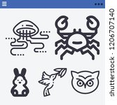 set of 5 animals outline icons...   Shutterstock .eps vector #1206707140