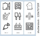 simple set of  9 outline icons... | Shutterstock .eps vector #1206707209