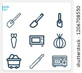 simple set of  9 outline icons... | Shutterstock .eps vector #1206708550