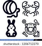 set of 4 animals outline icons...   Shutterstock .eps vector #1206712270