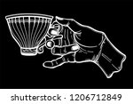 hand holding a tea or coffee... | Shutterstock .eps vector #1206712849
