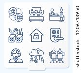 simple set of 9 icons  such as... | Shutterstock .eps vector #1206713950