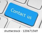big blue contact us keyboard... | Shutterstock . vector #120671569