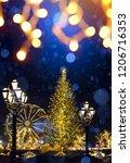 art christmas street holidays... | Shutterstock . vector #1206716353