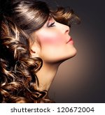 hairstyle.curly hair.beauty... | Shutterstock . vector #120672004