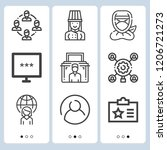 simple set of  9 outline icons... | Shutterstock .eps vector #1206721273