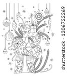 christmas coloring pages.... | Shutterstock .eps vector #1206722269
