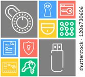 simple set of  10 outline icons ... | Shutterstock .eps vector #1206730606