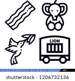 set of 4 animals outline icons... | Shutterstock .eps vector #1206732136