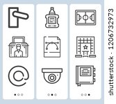 simple set of  9 outline icons... | Shutterstock .eps vector #1206732973