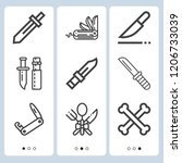 simple set of  9 outline icons... | Shutterstock .eps vector #1206733039