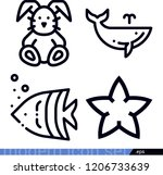set of 4 animals outline icons...   Shutterstock .eps vector #1206733639
