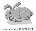 gray bunny  bunny sits  easter   Shutterstock .eps vector #1206743629