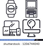 set of 4 computer outline icons ... | Shutterstock .eps vector #1206744040