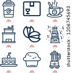 simple set of  9 outline icons... | Shutterstock .eps vector #1206745693