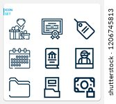 simple set of  9 outline icons... | Shutterstock .eps vector #1206745813