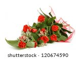 Stock photo bouquet of fresh red roses on white with space for copy in the side 120674590