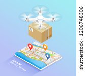 drone delivery service... | Shutterstock .eps vector #1206748306