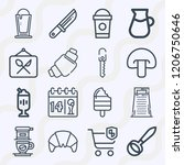 simple set of  16 outline icons ... | Shutterstock .eps vector #1206750646