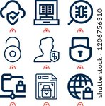 simple set of  9 outline icons... | Shutterstock .eps vector #1206756310