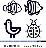 set of 4 animals outline icons...   Shutterstock .eps vector #1206756583