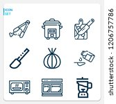 simple set of  9 outline icons... | Shutterstock .eps vector #1206757786