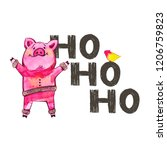cute pig with creative 2019 new ... | Shutterstock . vector #1206759823