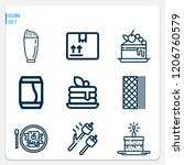 simple set of  9 outline icons... | Shutterstock .eps vector #1206760579