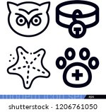 set of 4 animals outline icons...   Shutterstock .eps vector #1206761050