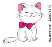 Stock vector white kitty with pink bow 120676540