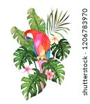 exotic summer print with parrot ... | Shutterstock . vector #1206783970
