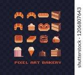 bakery logo pixel art icon set... | Shutterstock .eps vector #1206807643