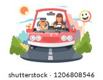 safe driving mother with baby... | Shutterstock .eps vector #1206808546